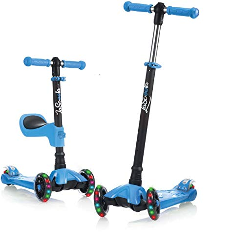 Lascoota 2-in-1 Kick Scooter with Removable Seat Great for Kids & Toddlers Girls or Boys – Adjustable Height w/Extra-Wide Deck PU Flashing Wheels for Children from 2-14 Years Old (Blue)