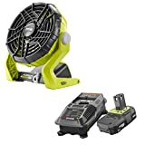 Ryobi 18-Volt ONE+ Hybrid Portable Fan(P3320) with P163 Lithium-Ion Battery(2.00Ah) and Charger