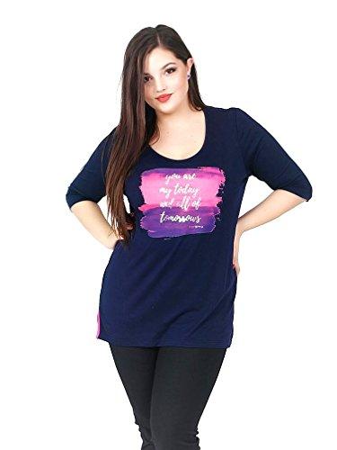 Caremo Collezioni T-Shirt - Collo a U - Maniche Corte - Donna Blue Large