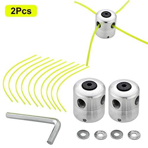SWAWIS Testina in alluminio, bobina di filo di nylon, doppia testa per decespugliatore, decespugliatore (2 fili + 10 fili)