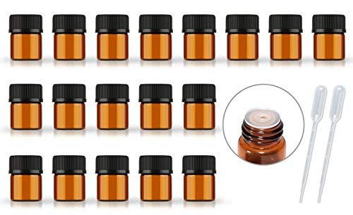 50Pack Set 1ML 2ML 3ML 5ML Amber Glass Bottle with Orifice Reducer and Cap Small Essential Oil Vials (1ML)