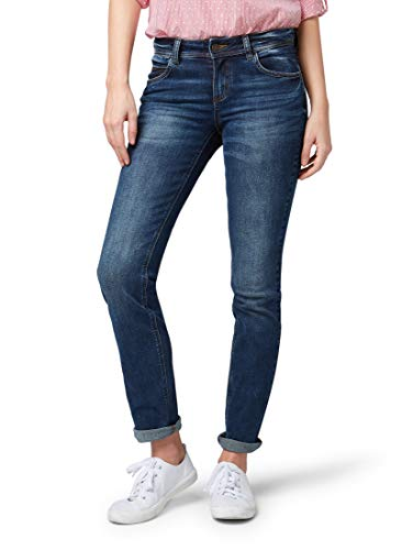 TOM TAILOR Damen Jeanshosen Alexa Straight Jeans mid Stone wash...