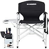 FUNDANGO Lightweight Camping Chairs with Side Table | Outdoor Aluminum Folding Directors Chair | Padded Full Back Lawn Chair with Armrest Handle Portable for Adults