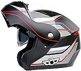 TOTONO Bluetooth Integrado Modular tirón Encima de la Cara Llena Casco de la Motocicleta de Doble Casco de la Bici Viseras Motocross Cascos de intercomunicación w/Micrófono, MP3, GPS,L