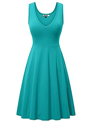 Features:V-neck and round back neck/Pockets on sides/Knee length/Aline/Sleeveless/Flared midi dress/ Situation: Casual,Business,Work, Date, Out for fun, Party,Sundress on beach etc Flowy tank dress for spring summer 2018.Perfectly cover your bum, Sim...