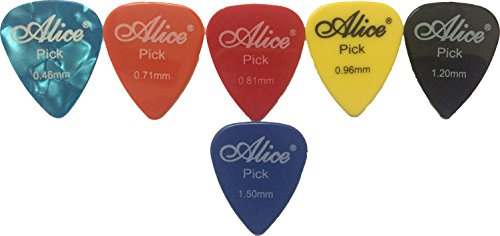 Alice Guitar Plectrums Pick of Various Thickness, 6 Pieces, Assorted Colors
