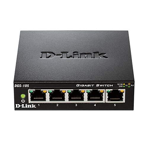 D-Link DGS-105 - Switch de red (5 puertos Gigabit RJ-45, 10/100/1000 Mbps, chasis metálico, IGMP snooping, autosensing, priorización de tráfico QoS 802.1p) color negro