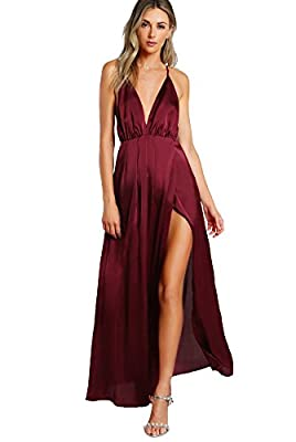 Material:100% Polyster. The material is very soft and smooth, SIZE RUNS LARGE. P.S. Please check our SIZE CHART before your purchase. Plunge neck, spaghetti strap, side slit, maxi evening gown Sexy, formal, vintage.Great for party, cocktail, wedding,...