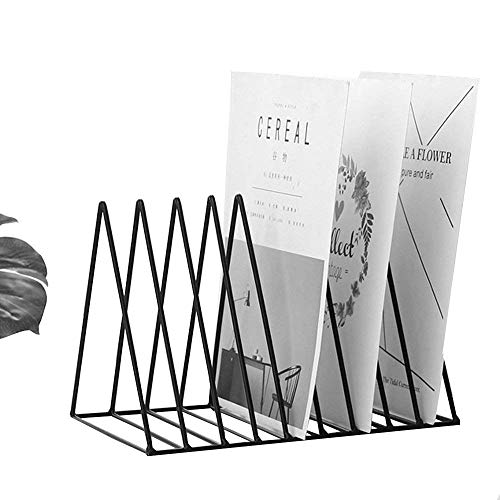 Pikify Magazine Holder, Desktop File Sorter Organizer, 8 Slot Triangle Shape (12.2' L X 7' W X 6.9' H) - Black