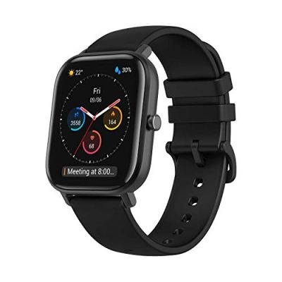 """Amazfit GTS Fitness Smartwatch with Heart Rate Monitor, 14-Day Battery Life, Music Control, 1.65"""" Display, Sleep and Swim Tracking, GPS, Water Resistant, Smart Notifications, Obsidian Black"""