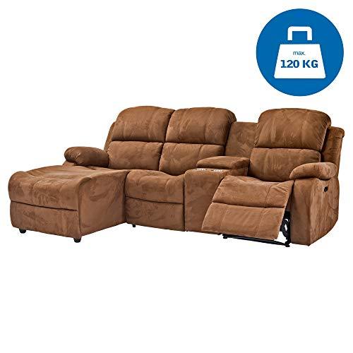 RABURG Kino- und Fernsehsofa 3-Sitzer, elektrische Relaxfunktion - Wohnzimmer Couchganitur mit bequemer Liegefunktion, USB-Anschluss, Kinosofa, Ecksofa aus Mikrofaser, braun