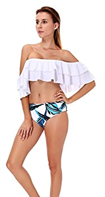 High Quality - comfy, elastic and durable material makes the swimsuit very smooth, perfect for tropical trip, honeymoon vacation, swimming pool party or just daily sport activities. Design - Two pieces Cute Falbala style with beautiful Leaf Floral Bo...
