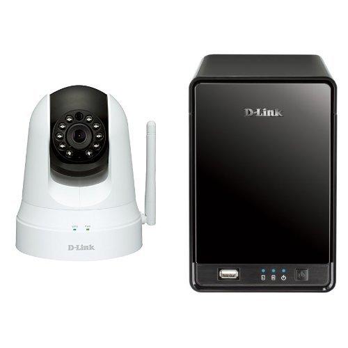 D-Link DCS-5020L Videocamera di Sorveglianza Cloud Wireless N, Visore Notturno, Movimenti Pan/Tilt/Zoom, Rilevatore di Movimenti e Suoni + D-Link DNR-322L Cloud Network Video Recorder