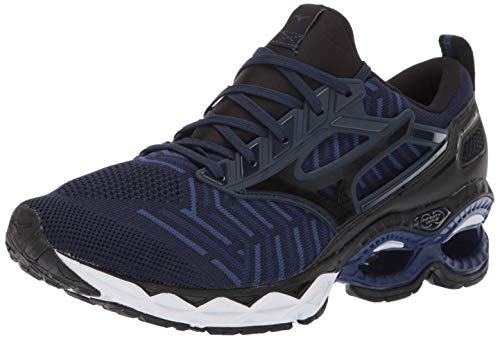 Mizuno Men's Wave Creation 20 Knit Running Shoe, Dress Blue-Black, 9.5 D US