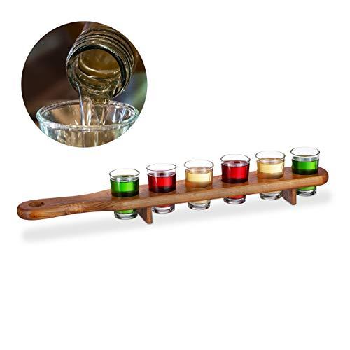 Relaxdays 10022788 Set Bicchieri Shot, 6 Bicchierini da Liquore 4 cl, Pratico Vassoio 1/2 Metro, Divertente Idea Regalo, Marrone, Legno, Vetro, 6X Tagliere