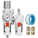 NANPU 3/8' NPT Compressed Air Filter Regulator Lubricator Combo Water/Oil Trap Separator - Gauge(0-150 psi), Poly Bowl, Semi-Auto Drain, Bracket - 3 in 1 two Unit