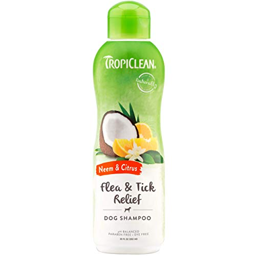 TropiClean Neem & Citrus Flea & Tick Relief Shampoo for Dogs, 20oz - Soothing Relief from Flea & Tick Irritations, Made in the USA