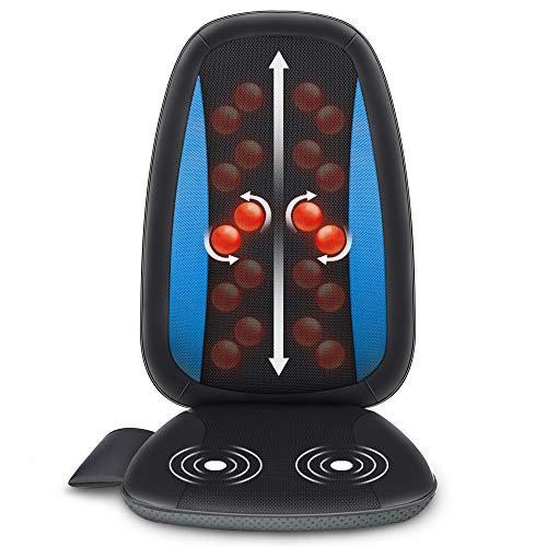 Comfier Shiatsu Massagesitzauflage mit Wärme, Shiatsu-Massageauflage Rückenmassagegerät, Entspannung für den gesamten Rücken, eignet sich fürs Büro, Zuhause und überall dort