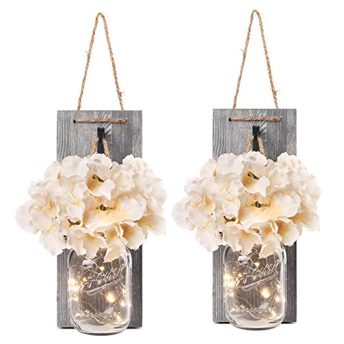 Besuerte Rustic Wooden Wall Hanging Decor with LED String Lights...
