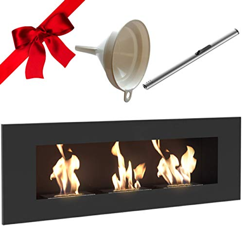 Delta 3 Bio Ethanol Fireplace, Wall Mounted, Indoor, 120cm, Matte Black, TÜV Certified, Gift Pack with Funnel and Lighter