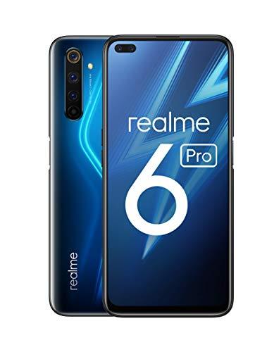 "realme 6 Pro – Smartphone de 6.6"", 6 GB RAM + 128 GB ROM, Procesador OctaCore Snapdragon 720G, Cuádruple Cámara AI 64MP, Dual Sim, Color Lightning Blue"