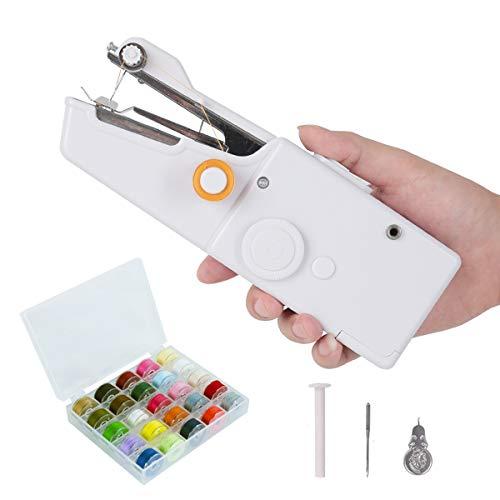 Chuangmeida Macchina da Cucire, Mini Portatile Handheld Tende Cordless Utensile Elettrico Stitch House per Uso Domestico da Viaggio con 28 Colori Fili, ago e infila