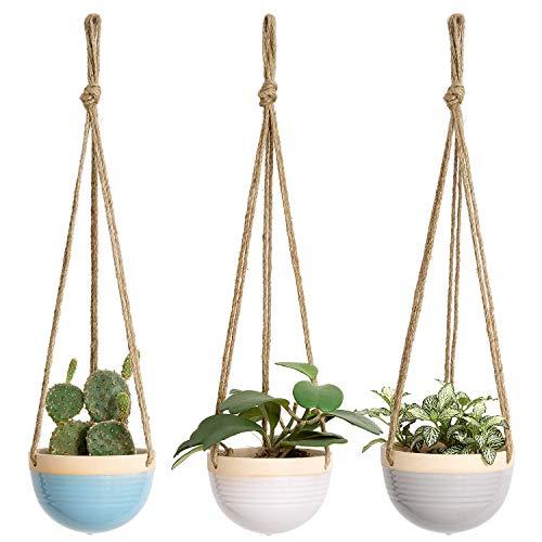 """Mkono 4.5"""" Ceramic Hanging Planter Set of 3"""