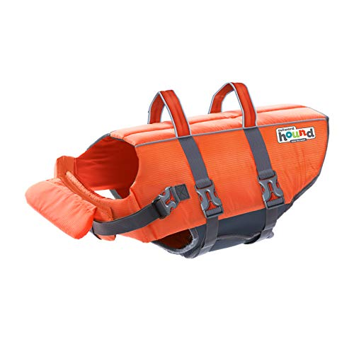 Outward Hound Dog Life Jacket - Quick Release Easy-Fit Adjustable, X-Large, Orange.