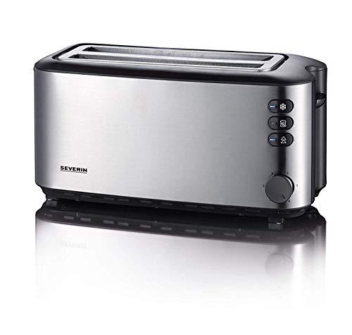SEVERIN Automatik-Langschlitztoaster, Toaster mit Brötchenaufsatz, hochwertiger Edelstahl Toaster mit großen Röstkammern und 1400 W Leistung, Edelstahl-gebürstet/schwarz, AT 2509