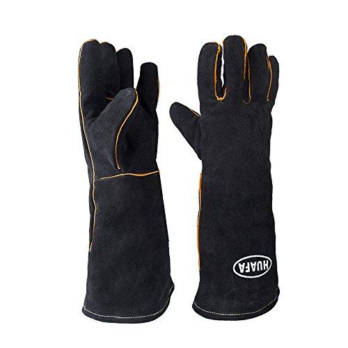 HUAFA Guanti da forno — pelle guanti da cucina, resistenti al calore fino a 350 ℃, nero, 1...