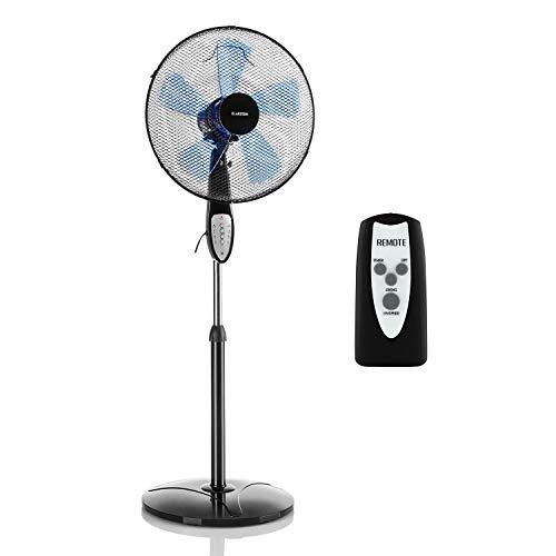 Klarstein Summerjam - Standventilator Standlüfter Ventilator, Rotor: Ø 41 cm, 50 W, 3 Geschwindigkeiten, Luftdurchsatz: 4150 m³/h, Oszillation: 80°, Timer, Fernbedienung, höhenverstellbar, schwarz