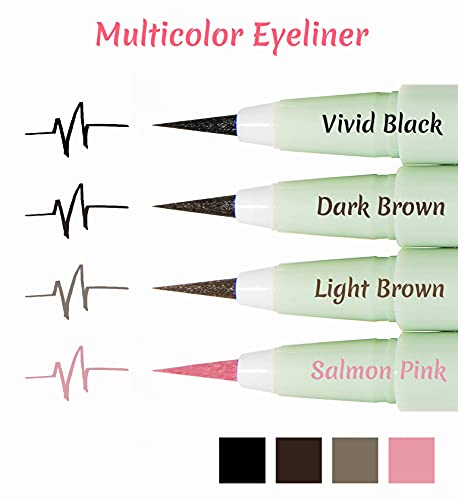 Product Image 2: Merry Monde Multicolor Super Slim Long Lasting Eyeliner Vegan Easy Ultra-Fine Felt Tip Pen Liquid Korean K Beauty Waterproof Mechanical Eye Liner Makeup (Salmon Pink)