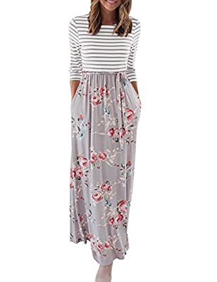 Size Guide: S=US 4-6,M=US 8-10,L=12-14,XL=16, XXL=US 18; Stretchy fabric,regular US size Unique Style: Stripes with floral bottom, Empire Waistline, Sexy Scoop Neck,Floor length maxi dress Occasion: Casual,formal party, wedding, banquet, dance ball e...
