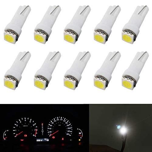 10Pcs T5 LED Lampadine Cruscotto Bianca 12V Lampadina Cuneo LED Auto 1SMD 5050 Sostituire 74 37 286 18 27 Lampadine per Interno Auto