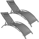 TecTake 800675 2 Bains de Soleil en Aluminium, inclinables sur 5 Positions,...