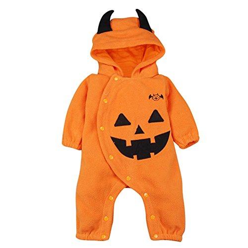 Le SSara Halloween Zucca Tuta Cappuccio Natale Costume Romper (6-12 Mesi, Orange)