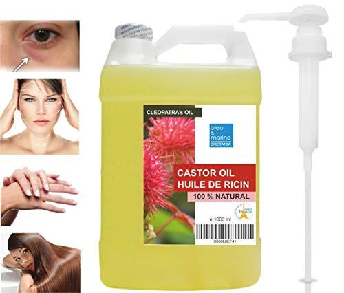 Olio de Ricino 100% Naturale 1000 ml Pressato a Freddo 1L - Puro, Naturale, Vegano, Senza Esano, Senza OGM - Occhiaie Capelli Secchi Ciglia Unghie Cuticole Viso Corpo - Con Pompa