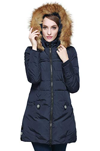 Orolay Women's Down Jacket with Faux Fur Trim Hood (XL, Navy)