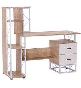 HomCom 52' Multi-Level Steel Wood Computer Workstation Desk with Shelves and Drawers, White/Oak