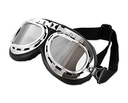 DSstyles Steampunk aviador estilo piloto motocicleta crucero scooter gafas con lentes de humo, vintage cool motocicleta snowboard gafas de sol con lentes de humo