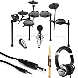 Alesis Nitro Mesh Electronic Drum Kit With a Pair of Drum Sticks + Headphones + 3.5 mm Interconnect Cable ,10 feet- Deluxe Accessory Bundle