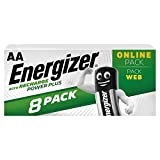 Energizer Piles Rechargeables AA, Recharge Power Plus, Lot de 8