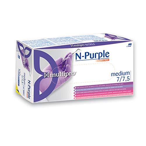 Multipro EMNV/ M Guanti in Nitrile, senza Polvere, 1 x 100, Taglia: M, Colore: Viola