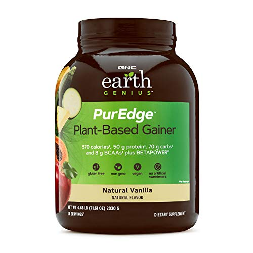 GNC Earth Genius PurEdge Plant-Based Gainer - Natural Vanilla, 14 Servings, 50 Grams of Plant-Based Protein