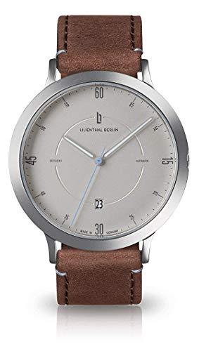 Lilienthal Berlin Zeitgeist Automatik (Gehäuse: Silber/Zifferblatt: Silber/Armband: Leder Dunkelbraun)