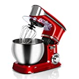 Stand Mixer Electric Mixer, Techwood 6-QT 800W high power 6-Speed Food Mixer, Tilt-Head Kitchen Electric Dough Mixer with Stainless Steel Bowl, Dough Hook, Wire Whip and Beater, Red