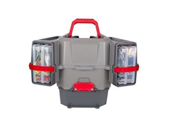 Plano PLAM80700 Kayak V-Crate Tackle Box and Bait Storage, Premium Tackle Storage, Grey/Red, One Size