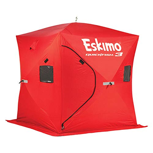 Eskimo 69143 Quickfish 3 Pop-Up Portable Hub-Style Ice Fishing Shelter, 34 Square Feet of Fishable...