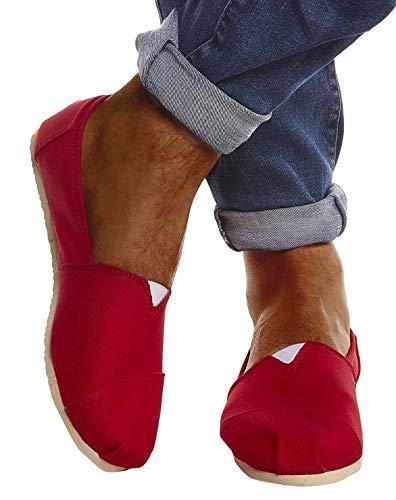 Leif Nelson Hombres Zapatos Alpargatas LN-101 Rojo 40 EU