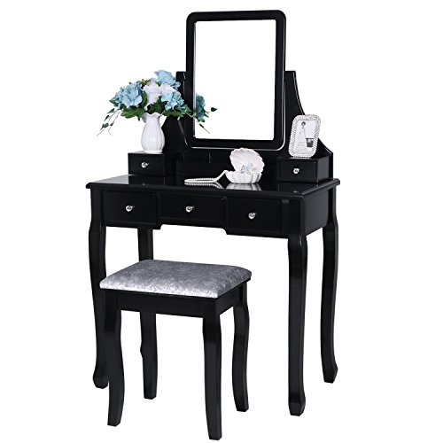 BEWISHOME Vanity Table Set with Mirror &...